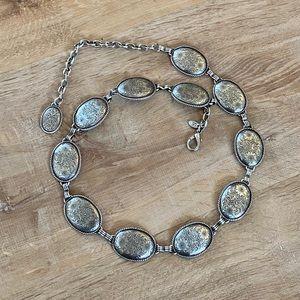 Vintage floral print silver belt